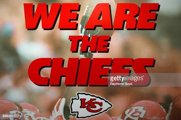 'We Are The Chiefs' signage hanging on the wall of the team's locker room inside Arrowhead Stadium home of the Kansas City Chiefs football team in...