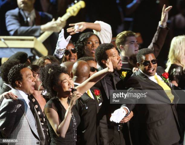 'We are the World' is performed during the Michael Jackson public memorial service held at Staples Center on July 7 2009 in Los Angeles California...