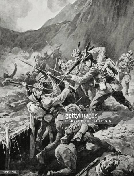 We cleaned it', comment by Major Corporal Vico after a raid in an Austrian trench, World War I, drawing by Gennaro d'Amato from L'Illustrazione...