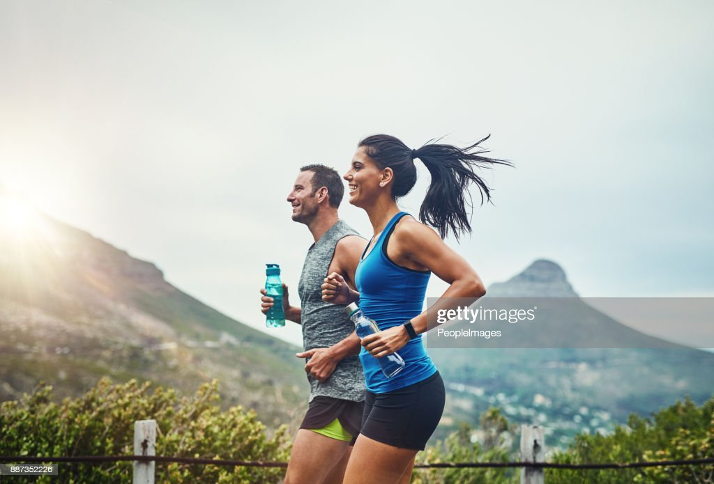 We compete in a friendly way : Stock Photo