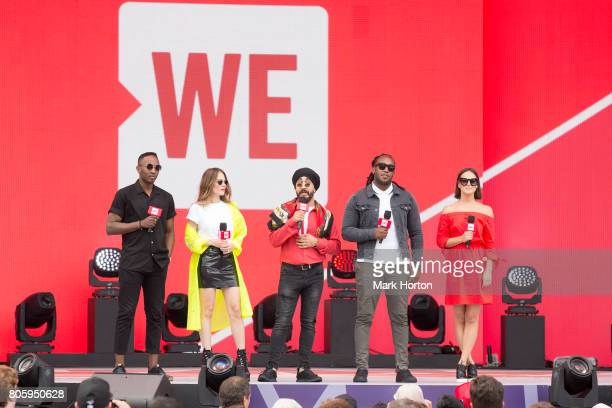 We Day Canada hosts Nico Ouellet Maripier Morin JusReign Tyrone Edwards and Chloe Wilde open the show at Parliament Hill on July 2 2017 in Ottawa...