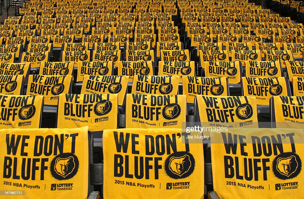 'We Don't Bluff' rally towels sit on seats at the FedExForum arena before Game Six of the Western Conference Quarterfinals between the Los Angeles Clippers and Memphis Grizzlies during the 2013 NBA Playoffs on May 3, 2013 in Memphis, Tennessee.