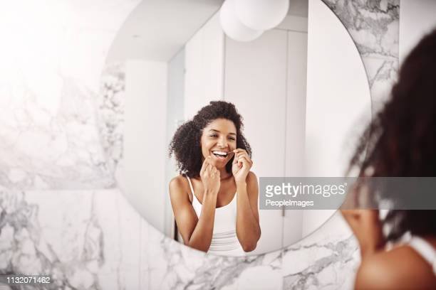 we floss and give great smiles on this side - dental floss stock pictures, royalty-free photos & images