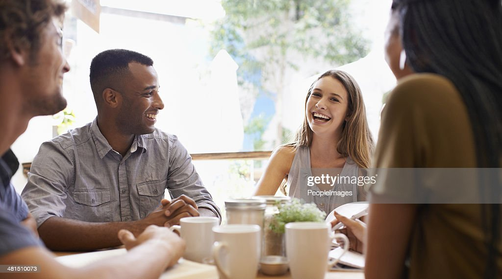 We have a lot to catch up on! : Stock Photo