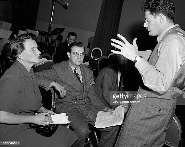 We Hold These Truths featuring CBS Radio writerdirector Norman Corwin far right Seated is Marjorie Main and Joseph Kearns Produced in KNX studios...