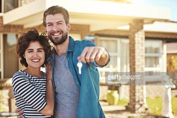 we just bought our first house - house key stock photos and pictures