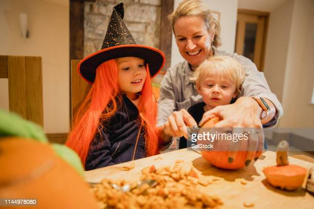 we love halloween! - naughty halloween stock photos and pictures