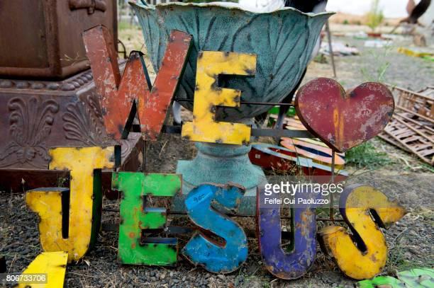 We love Jesus sign for sale at Spokane, Washington state, USA