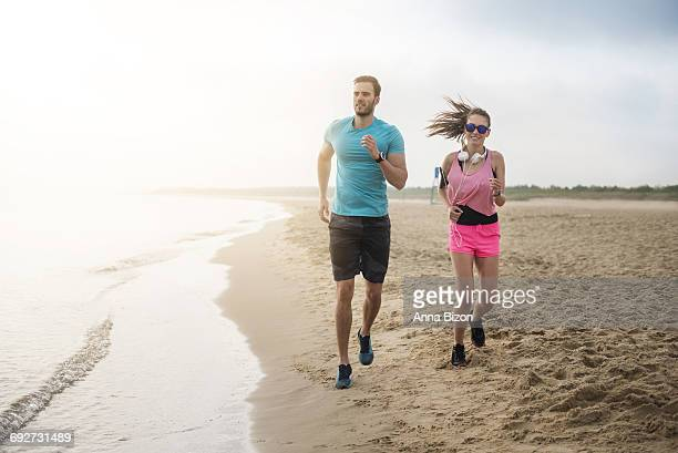We love morning jogs on the beach. Gdansk, Poland