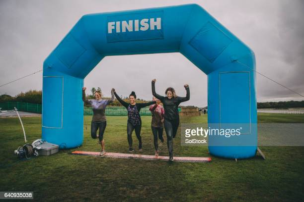 we made it! - obstacle course stock photos and pictures