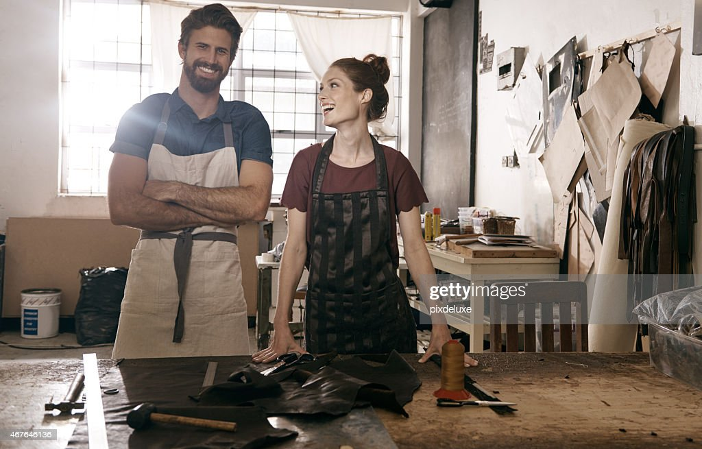 We make the leather work for us : Stock Photo