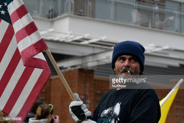 We The People rally at Independence Mall in Philadelphia PA on November 17 2018 The patriotic gathering is met with thousands of counterprotestors