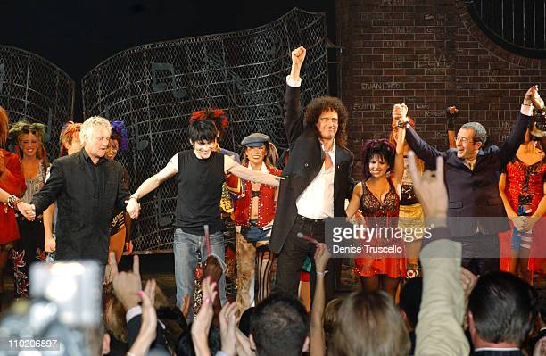 We Will Rock You cast with Roger Taylor and Brian May of Queen and book writer Ben Elton