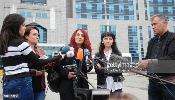 We Will Stop Femicides Platform's lawyer Rukiye Leyla Suren speaks to media on the court decision that acquits 2 brothers who were charged with...