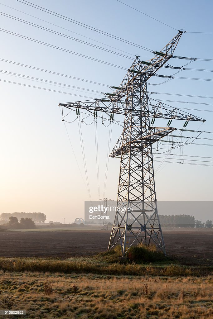 weadow Whit electric pole : Stock Photo
