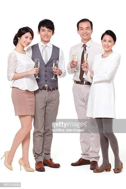Wealthy family having champagne