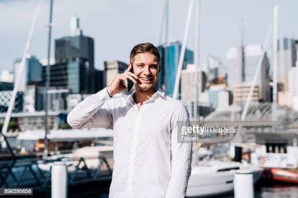 Wealthy man in Australian yacht harbour