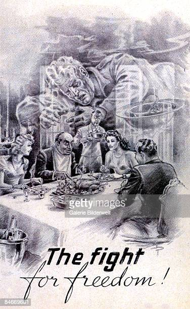 A wealthy party dig into a feast whilst the image of a dead soldier fills the room 1944 The words 'The fight for freedom' are written beneath An...