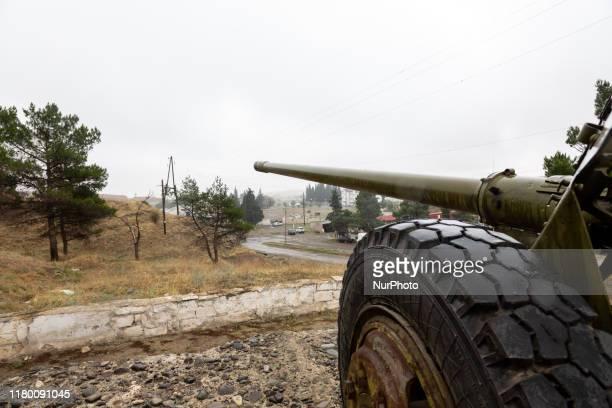 Weapon directed to Azerbaijan - a memorial of Nagorno Karabach War in Martakert in Nagorno Karabach on October 10, 2019.Martakert is an Artsakh town...