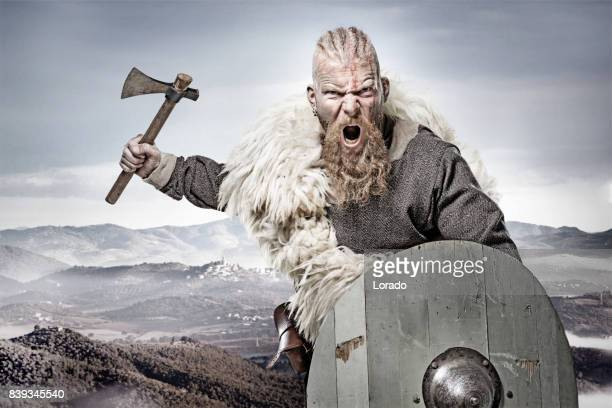 Weapon wielding bloody viking warrior in emotional pose against mountain range