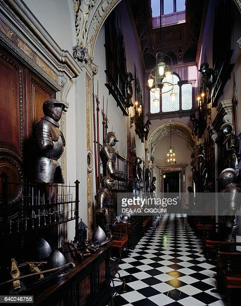 Weapons and armour in the Weapons gallery Bagatti Valsecchi museum Milan Lombardy Italy
