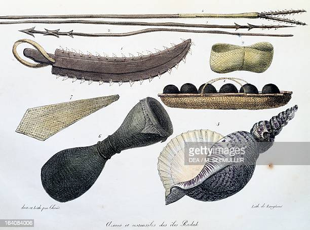 Weapons and tools of the Radak Islands, Marshall Islands, illustration from Picturesque voyages around the world, by Louis Choris from the expedition...