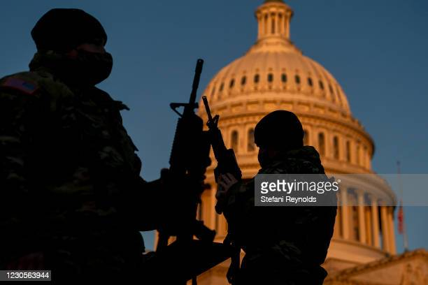 Weapons are distributed to members of the National Guard outside the U.S. Capitol on January 13, 2021 in Washington, DC. Security has been increased...
