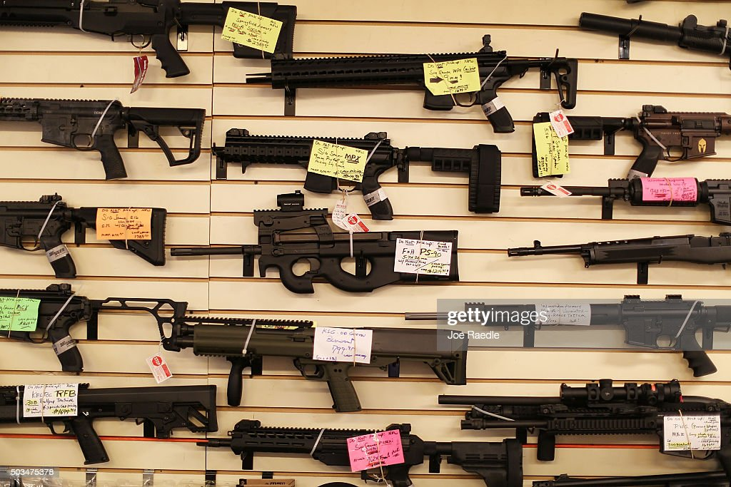 Weapons are seen on display at the K&W Gunworks store on the day that U.S. President Barack Obama in Washington, DC announced his executive action on guns on January 5, 2016 in Delray Beach, Florida. President Obama announced several measures that he says are intended to advance his gun safety agenda.