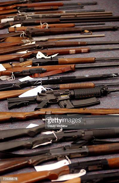Weapons owned by David Reza who was arrested January 8 2002 after alledgedly threatening to kill former coworkers from the San Onofre Nuclear...