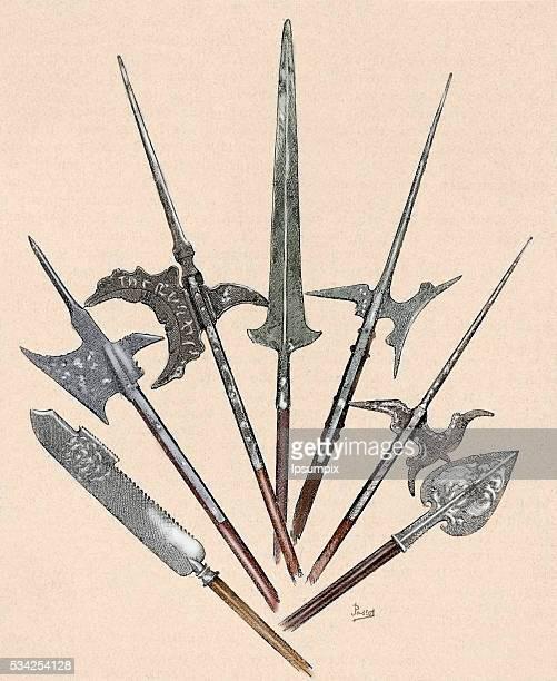 Weapons. Swiss Halberd from 18th century, Swiss halberd from 15th century, German halberd from 16h century, French halberd from 16th century,...