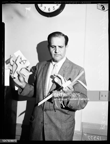 Weapons used by juveniles in Temple City vandalism, 7 July 1958. Sheriff Elect Pete Pitchess.;Caption slip reads: 'Photographer: Swaim. Date: ....