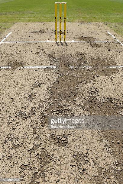 Wear on the pitch is pictured after Australias first batting innings during the international tour match between the Cricket Australia XI and New...