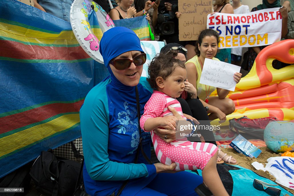Burkini Ban Protest At The French Embassy London : News Photo