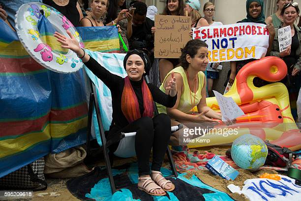 'Wear what you want' protest at the French embassy against the burkini ban for Muslim women on Frances beaches on 25th August 2016 in London United...