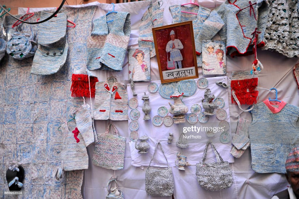 A wearable products from waste plastic materails weave by 76yrs old, BABU KAJI MAHARJAN showcase during inauguration ceremony of Jyapu Museum on the occasion of 72nd United Nations Day in Chyasal, Lalitpur, Nepal on Tuesday, October 24, 2017.