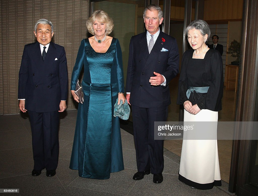 Wearing a Japanese influenced dress HRH Camilla, Duchess of Cornwall poses for a photograph with Empress Michiko, Prince Charles, Prince of Wales and Emperor Akihito as they arrive for a private dinner at the Imperial Palace on October 28, 2008 in Tokyo, Japan. Prince Charles, Prince of Wales and Camilla, Duchess of Cornwall are in Japan as part of a ten day tour of East Asia that takes in Japan, Brunei and Indonesia.