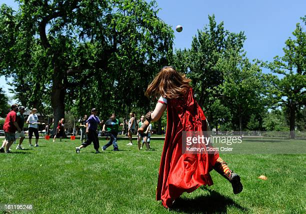 Wearing a Potter cape and serving as the keeper Jessi Wagner throws the quaffle back in play Harry Potter fans have formed teams to play Quidditch...
