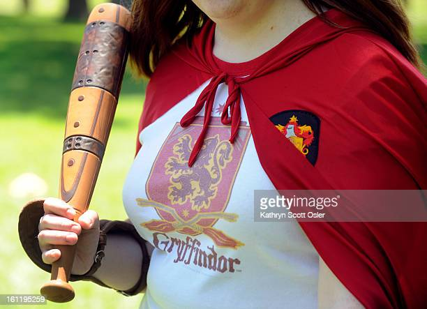 Wearing a Potter cape Jessi Wagner is armed with an official 'beater bat' Harry Potter fans have formed teams to play Quidditch the game played on...