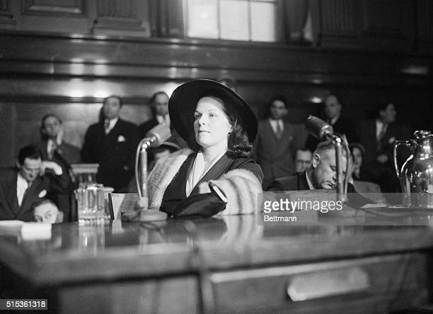 Wearing a silver blue mink stole Virginia Hill is pictured in two character poses during her appearance before the Senate Crime Investigating...