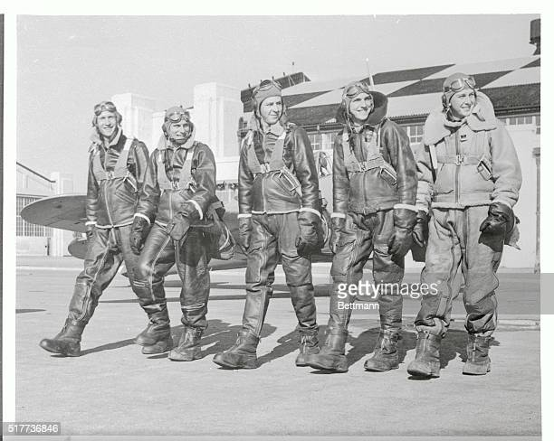 Wearing full winter flying gear these Randolph Field aviation cadets resemble men from another planet as they stride out to their waiting airplanes...