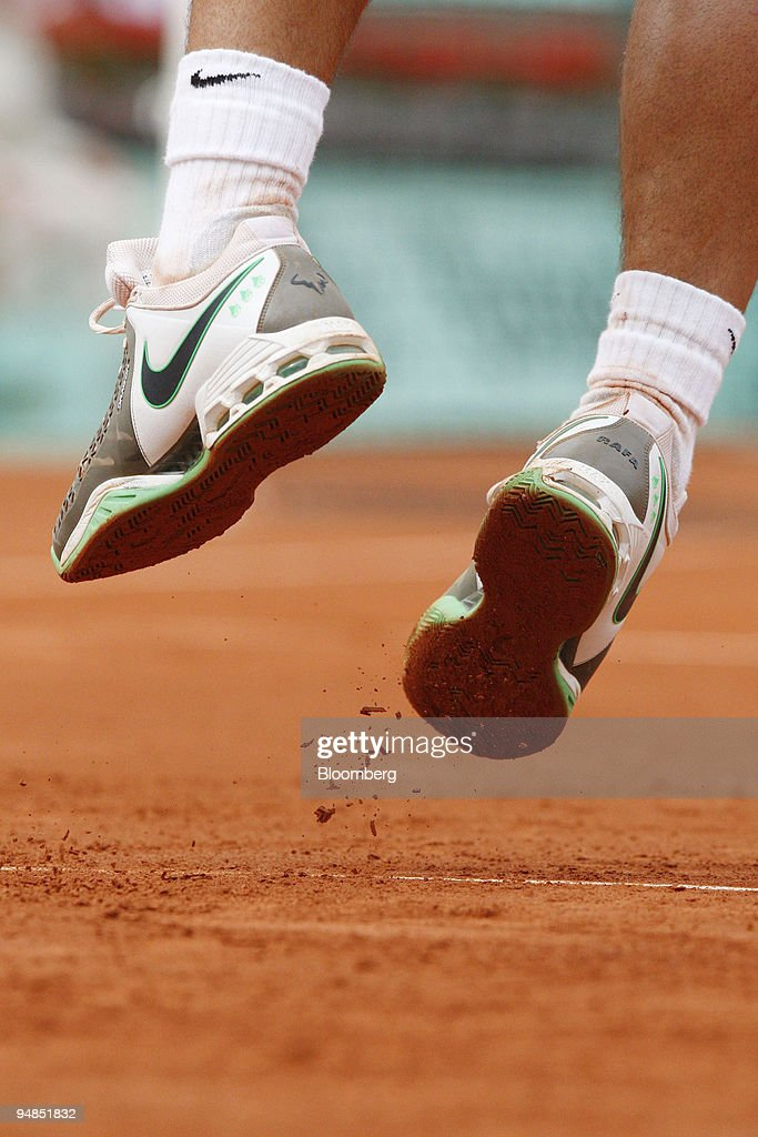 Wearing His Personalized Nike Shoes Rafael Nadal Of Spain Jumps To News Photo Getty Images