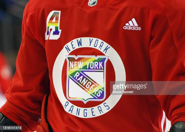 Wearing his 'Pride Night' jersey, Artemi Panarin of the New York Rangers skates in warm-ups prior to the game against the Washington Capitals at...