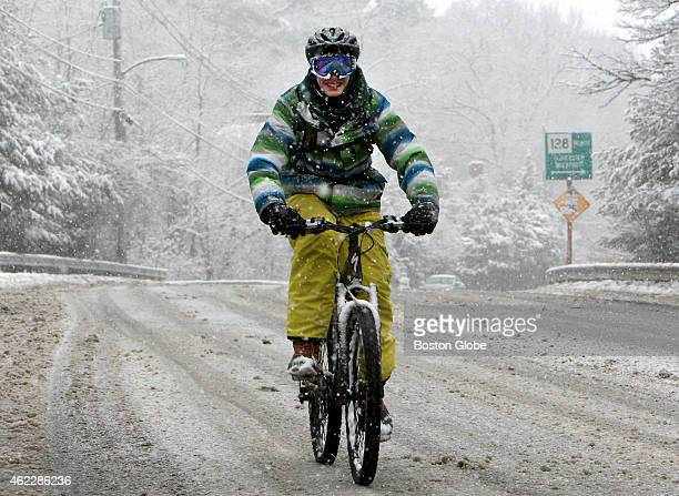 Wearing his ski goggles Andrew Creighton bikes through the snow on School St in ManchesterbytheSea Mass January 24 2015 He is a senior at...