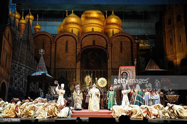 Wearing Russian costumes the 17th century actors take part in a dress rehearsal of Modest Mussorgsky's opera Boris Godunov at the main stage of the...