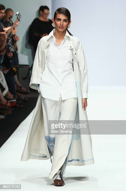 Wearing the collection of Julia Velazquez Charro a model walks the runway at the Rebelpin Fashion Awards By Acte show during the Berlin Fashion Week...