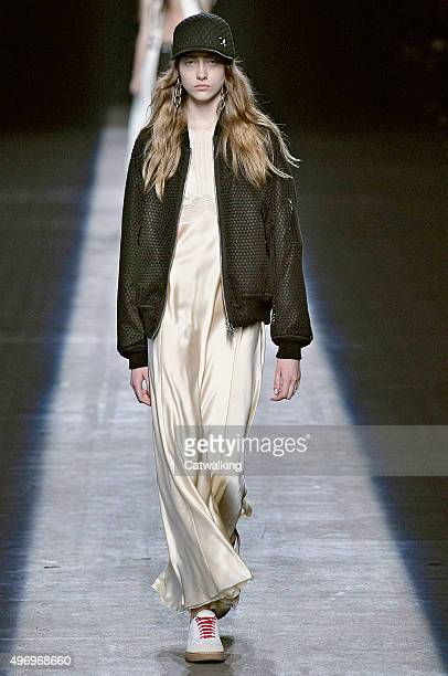 Wearing the latest slip lingerie trend a model walks the Alexander Wang fashion show runway at the spring summer 2016 women's readytowear fashion...