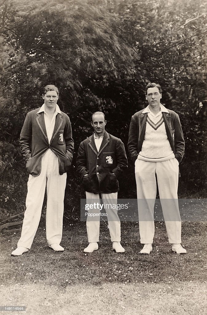 Wearing their MCC England touring blazers, Kent and England cricketers (left-right): Percy Chapman, Percy 'Tich' Freeman, and Frank Woolley, circa 1926.