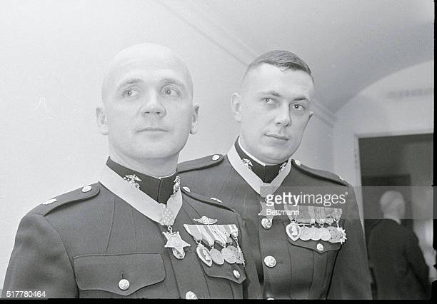 Wearing Their Medals. Washington: Two U.S. Marine Corps officers wear their newly-awarded Medals of Honor after they were presented by President...