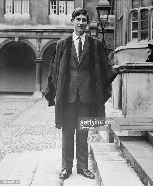 Wearing Trinity Gown Cambridge England Prince Charles appears in his gown here after arriving approximately ten minutes late at Trinity College for...