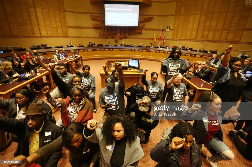 A delegation lead by Tope Adefarakan makes a deputation regarding Black History Month and the policing Black students in the Peel District School Board at HJA Brown Education Centre, 5650 Hurontario Street : News Photo